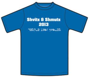 Members of Temple B'nai Shalom's Team Shvitz &Shmutz designed their own shirts in preparation for the Saturday Run Amuck race.