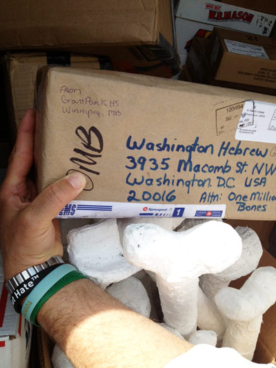Boxes filled with bones were sent to Washington Hebrew Congregation for storage. Photo by Marsha Humphries