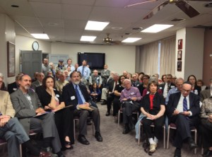 About 100 people crammed into a meeting room to speak out against the proposed merger of the two largest funeral homes in the country. Photo courtesy of Jewish Community Relations Council of Greater Washington