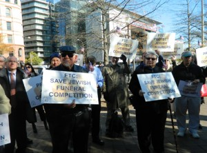 Protesters outside the Federal Trade Commission Tuesday demonstrated against a funeral company merger that might end less expensive funerals for Washington-area Jews. Photo by Suzanne Pollak
