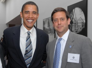 """Nathan Diament — director of the Advocacy Center of the Union of Orthodox Jewish Congregations of America, posing here with President Obama  — believes that the Little Sisters of the Poor's suit constitutes """"a serious issue for religious liberty."""" File photo"""