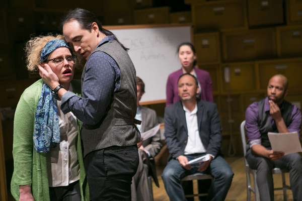 "From left, Tonya Beckman, Rafael Untalan, Brandon McCoy, Sue Jin Song, Stan Kang, Mark Hairston are onstage in ""Yellow Face."""