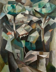 """The """"Paysage"""" a 1911 Cubist landscape by Albert Gleizes at the Pompidou Center was looted by the Nazis. It has since been returned to the heirs of owner Alphonse Kann. Wikipedia Commons"""
