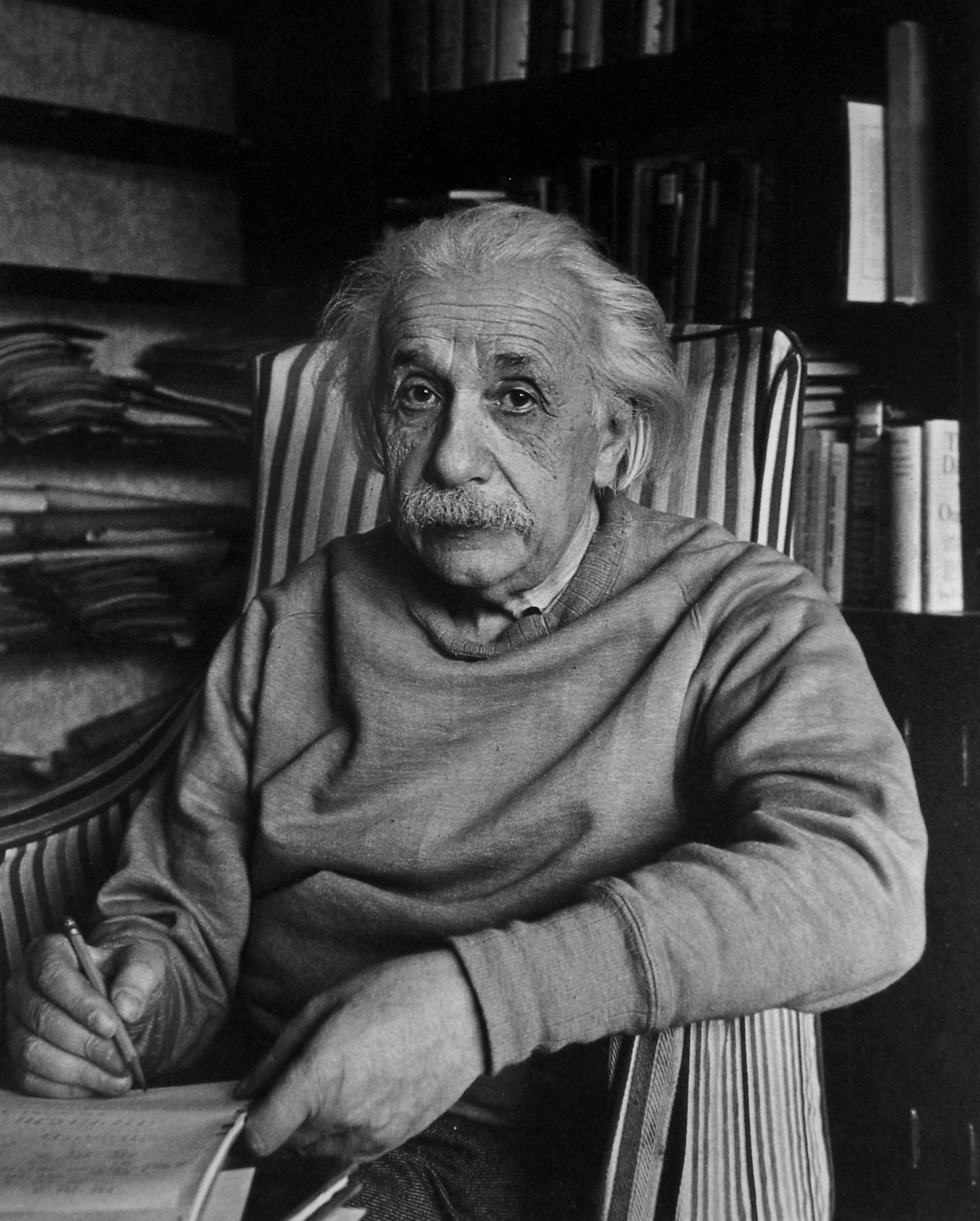 Albert Einstein poses for a snapshot during his time at Princeton ...