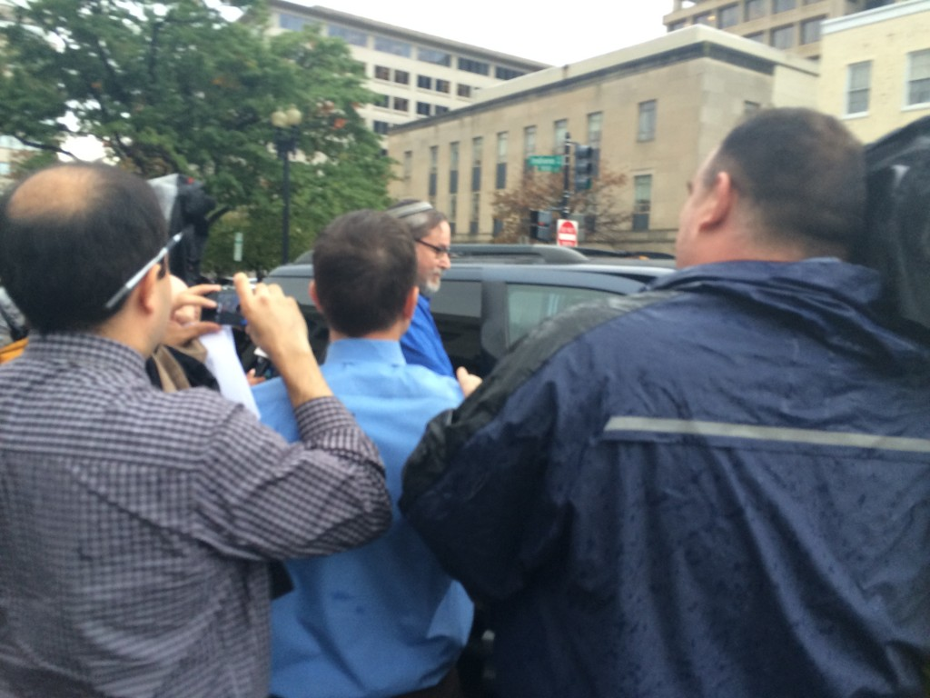 Rabbi Barry Freundel, mobbed by reporters as he is leaving D.C. Superior Court after his arraignment on six voyeurism charges on Oct. 15. Photo by Dmitriy Shapiro