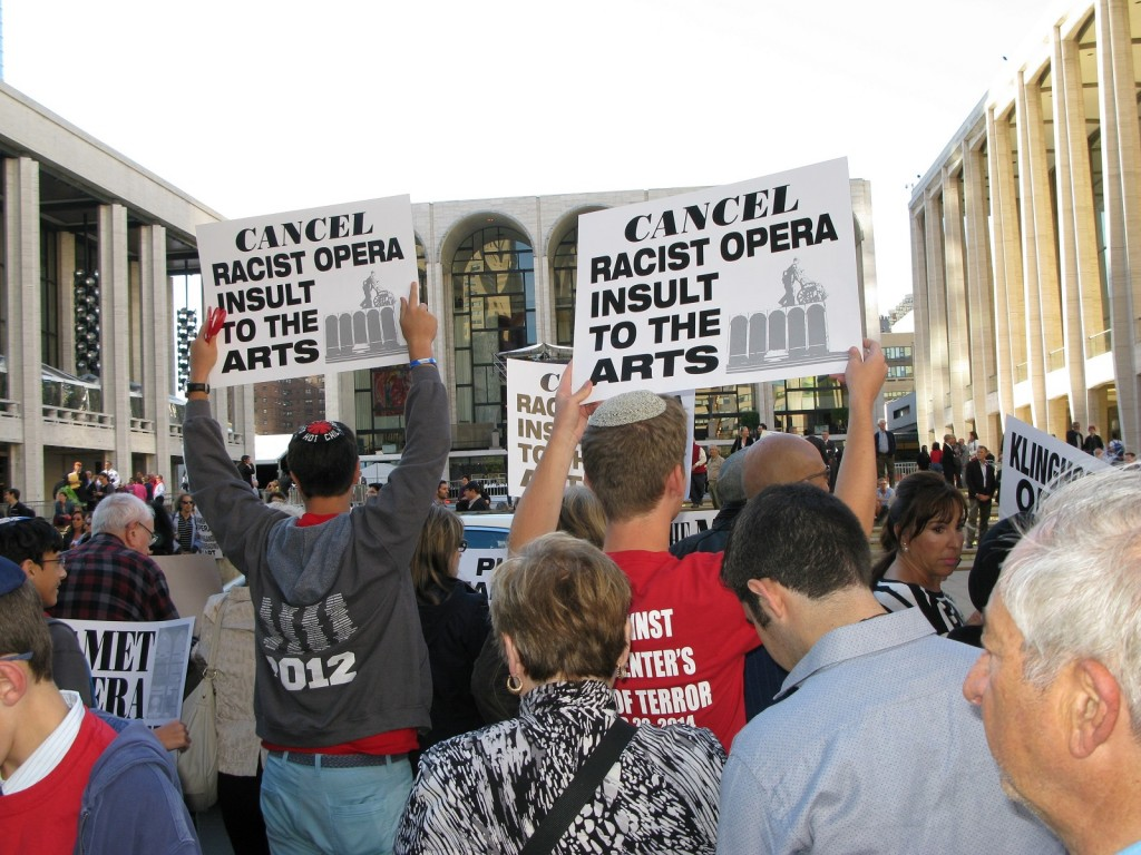 Protesters demonstrating against 'The Death of Klinghoffer' outside the Metropolitan Opera House in New York City, Oct. 20, 2014. Photo by Raffi Wineburg