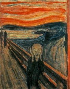 "One of several versions of the painting ""The Scream"" (title: ""Der Schrei der Natur,"" The Scream of Nature)."
