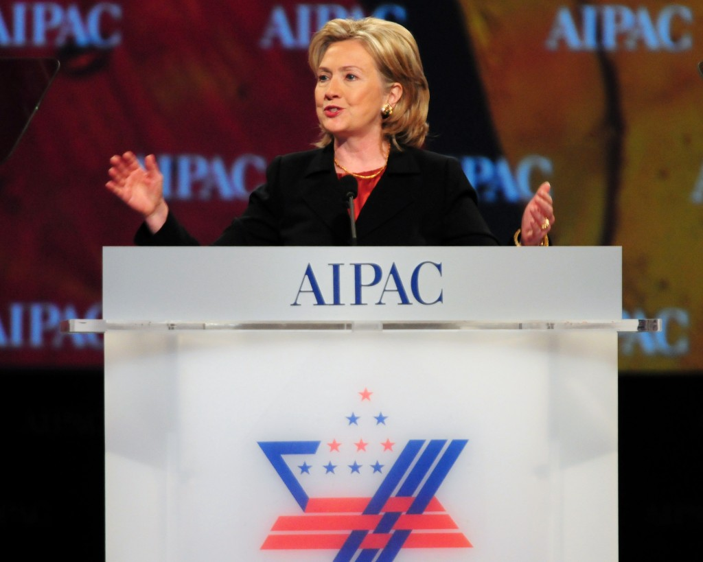 Hillary Clinton speaks at an AIPAC conference, in a file photo. The former first lady, senator and secretary of state is seen as a strong candidate among Jewish voters, should she decide to run for president in 2016.