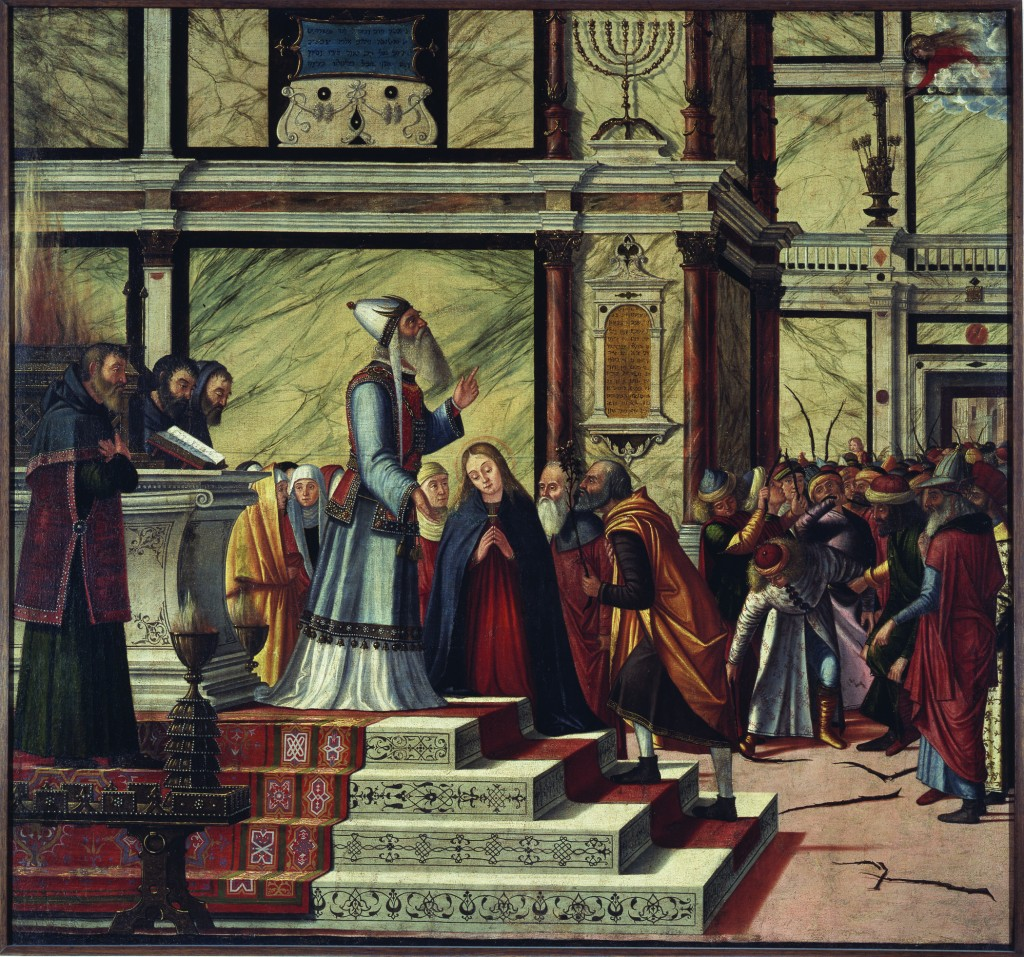 """Marriage of the Virgin"""" (Sposalizio della Vergine),also called""""Miracle of the Flowering Staff """"(Miracolo della Verga Fiorita), 1502–05. Oil on canvas Photo courtesy of Pinacoteca di Brera, Milan"""