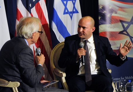 Martin Indyk of the Brookings Institution, left, squares off with Israeli economy minister Naftali Bennett at Saban Forum 2014 in D.C. last weekend. Photo courtesy of Brookings Institution