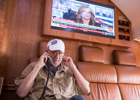 Alan Gross spoke with President Barack Obama on his flight from Cuba to Maryland  although the call did interrupt his first corned beef sandwich in five years. White House photo by Lawrence Jackson
