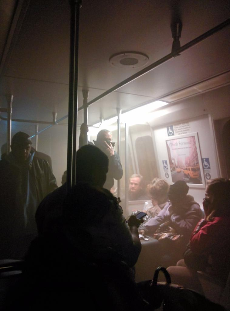 Smoke fills a southbound Yellow line car near L'Enfant Plaza station on Jan. 12 in Washington, D.C. Photo by Andrew Litwin