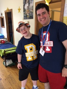 Uriel Levitt, left, shares a laugh with his counselor Max Beede at Camp Ramah last summer. Photo courtesy of Levitt family