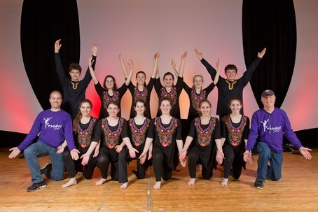 Yesodot youth dance troupe is flanked by founders Mike Fox, far left, and Pepe Strauss, far right, in the lower row, at last year's Israeli Dance Festival DC. Photo by Marlayna Photography