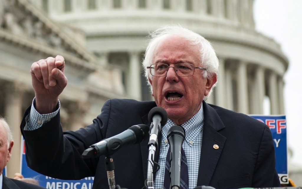 Sen. Bernie Sanders addressing a rally on Capitol Hill in 2013. Photo credit: JTA