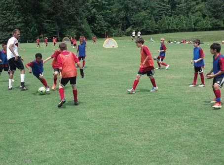 Players scrimmage on the last day of the 2014 AC Milan & Golden Boot Soccer camp at Gesher Jewish Day School in Fairfax in August 2014. Photos courtesy of Golden Boot Soccer