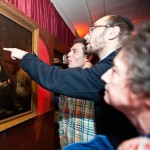 At a Brandeis event in April, visitors view Solomon Nunes de Carvalho's 1865 portrait of Abraham Lincoln.  JTA- Ashley McCabe/Brandeis University