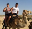 Ali Marpet, in rear, and his longtime friend Jake Fuerst ride a camel during a Birthright Israel trip in the summer of 2014.  Photo courtesy of Jake Fuerst