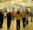 Stretching is part of the Jewish Community Center of Greater Washington's Parkinson's disease wellness program.  Photo courtesy of the National Parkinson Foundation
