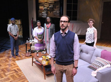 From left, Bru Ajueyitsi, Kelly Renee Armstrong, Joy Jones, Jonathan Feuer and Tessa Klein in The Call. Photos by Stan Barouh