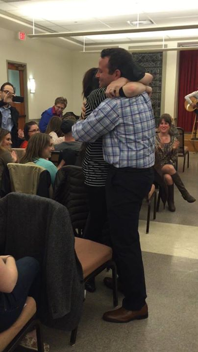 Michelle Akerman and Brian Posner, who met at Washington Hebrew Congregation's 2239 monthly Metro Minyan Shabbat community a year and a half ago, became engaged at Metro Minyan on April 25. Courtesy of 2239