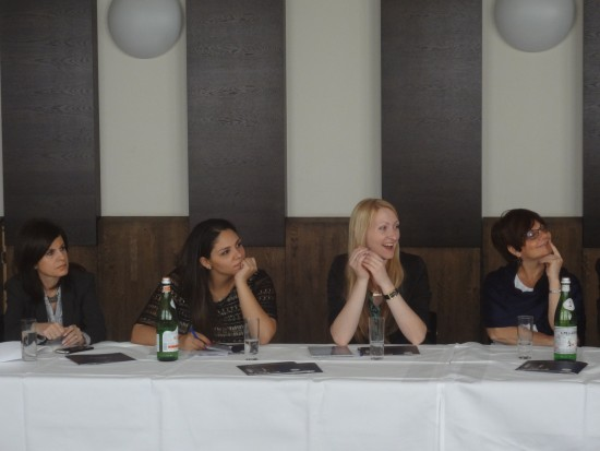 Anna Yamchuk, second from right, listens to a speaker during the tour of Jewish Germany.  With her are, from left, Renee Dayan, director of Tribuna Israelita in Mexico; Nicolle Ponsa Ravichi, from El Salvador; and Alice Herskovitch, executive director of the Montreal Holocaust Memorial Centre. Photo by Magdalena Riedel ©Riedel/PDIK