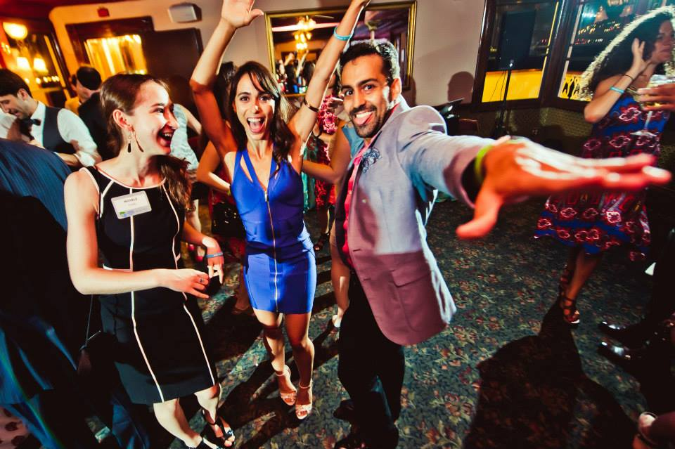 Left to right: Michele Fried, Barri Rachel and Anton Merbaum dance the night away.
