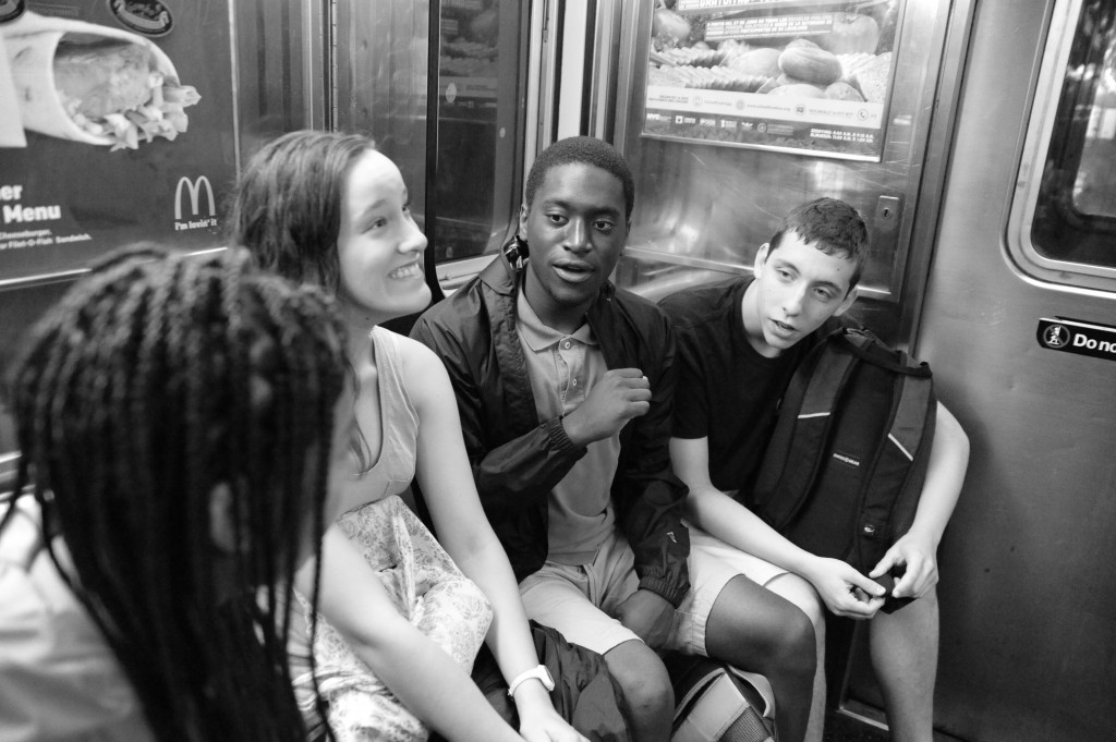 Operation Understanding DC summer journey participants, left to right, Drew Hickman, Rivka Batlan, Colin Bruce Jr. and Noah Roos ride the New York City subway.Photo by Lloyd Wolf