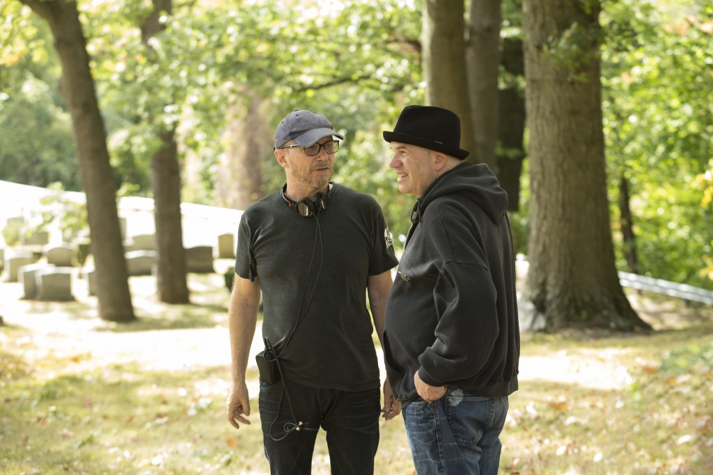 Director Paul Haggis, left, with writer David Simon on the set of HBO's Show Me a Hero, premiering Aug. 16 on the cable network.