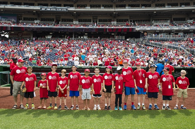 Kids from Congregation Etz Hayim on the field at Nationals Park before the ballgame.