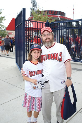 A father and daughter ready to root on the Nats at Jewish Community Day at Nationals Park.