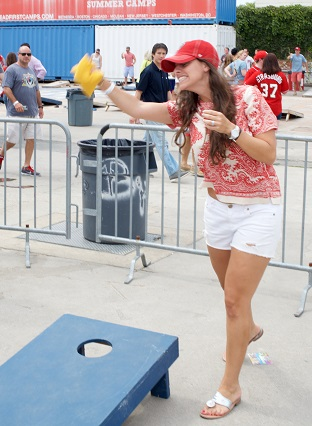 Playing cornhole at Jewish Community Day at Nationals Park.