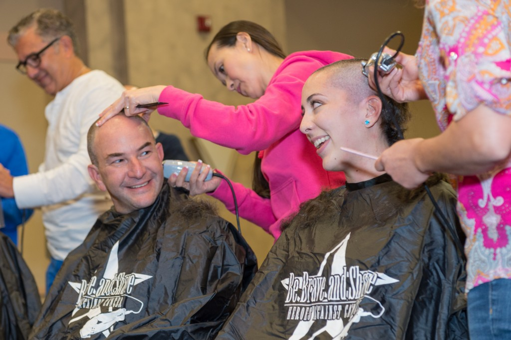 Dr. David Jacobsohn gets his head shaved at Congregation Beth El to show his support for children fighting cancer.Photo by Carly Glazier