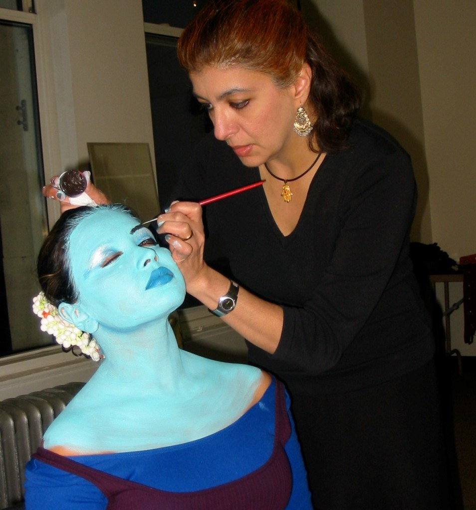 Indian-Jewish artist Siona Benjamin paints a dance partner blue.Photo provided
