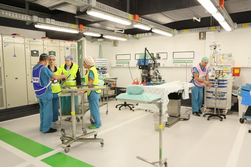 Rambam hospital staff ready a surgical unit in the underground facility.Photos courtesy of Rambam