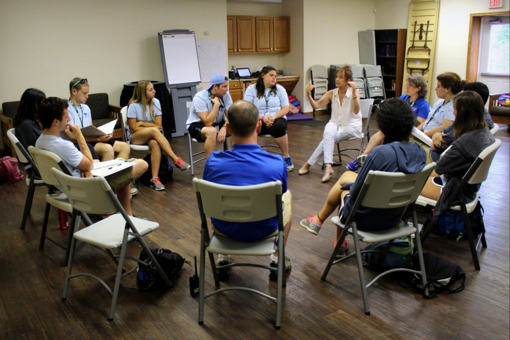 Participants in the Capital Camps Institute for Leadership and Learning role-play how to have a  difficult conversation.  Photo provided