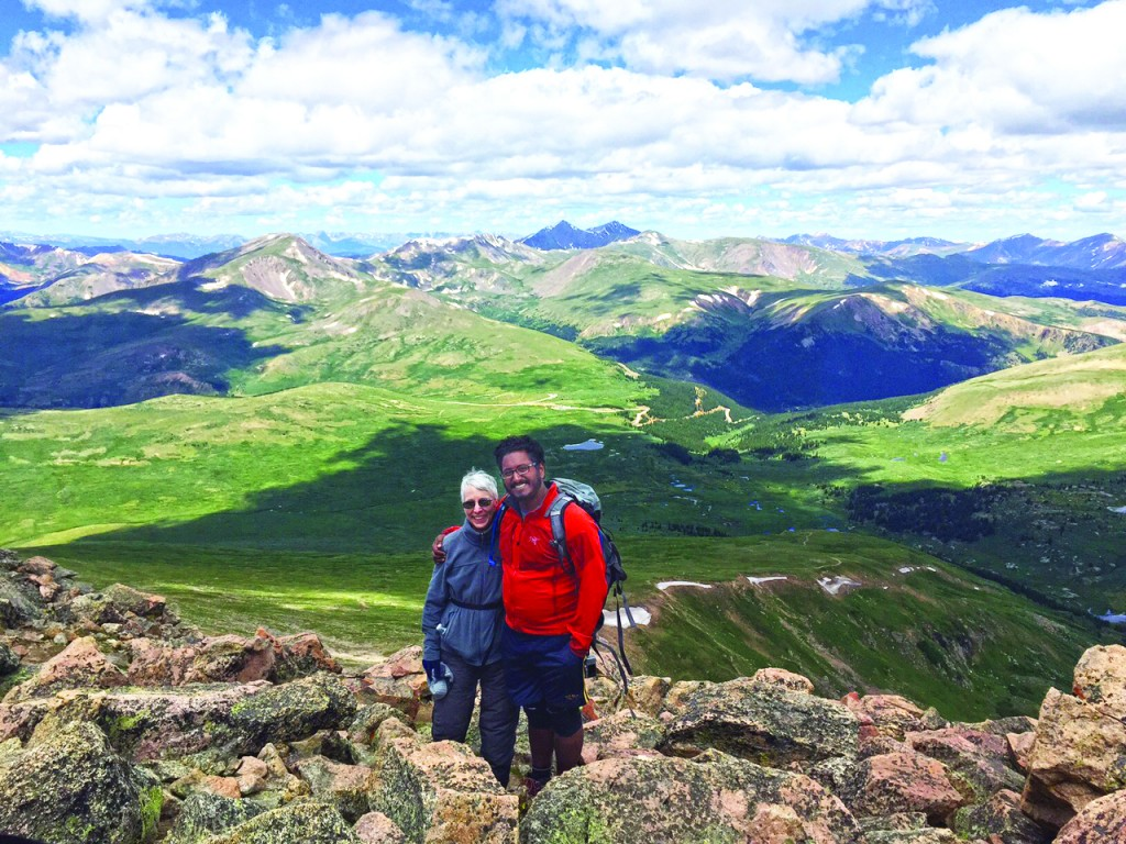Gail Lipsitz pauses while climbing Mount Bierstadt with her son David. She has resolved to live an active retirement by doing activities such as hiking and traveling.Courtesy Gail Lipsitz