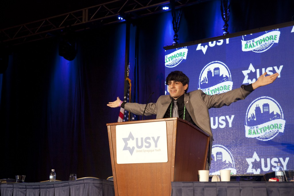 Louis Popkin, a member of Congregation Har Shalom, delivers his acceptance speech after being elected the 2016 USY international communications vice president at USY's 65th International Convention in Baltimore.Photo by Jackson Krule