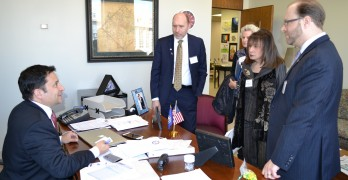 Del. Mark Levine (D-District 45) meets with Virginia Jewish Advocacy Day participants in his legislative office Tuesday at the General Assembly in Richmond. With him are, from left, AJC Washington Regional Director Alan Ronkin, constituent Janet Garber, Jewish  Foundation for Group Homes CEO Vivian Bass and Todd Schenk, CEO of the Jewish Social Service Agency. Photo by Josh Marks