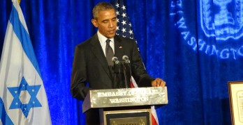 resident Barack Obama talks about fighting anti-Semitism in his address at the Israeli Embassy last week, the first visit by a sitting president to the diplomatic mission. Photo by Suzanne Pollak