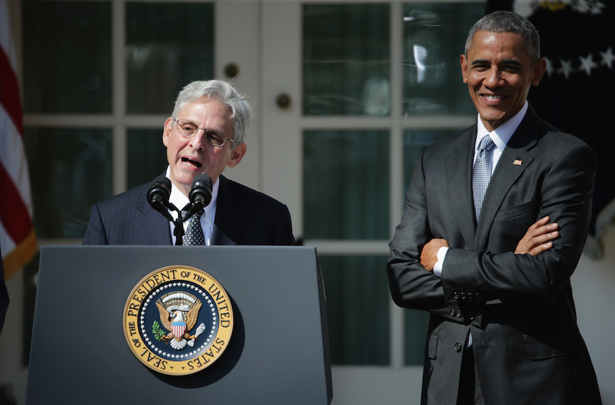 Judge Merrick B. Garland speaks after being nominated to the US Supreme Court as U.S. President Barack Obama looks on, in the Rose Garden at the White House, March 16. Photo by Chip Somodevilla/Getty Images