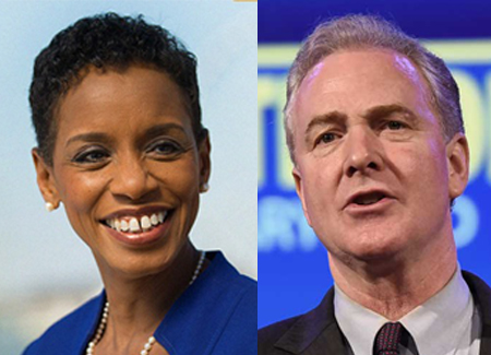 Rep. Donna Edwards, left, and Rep. Chris Van Hollen are both progressives who want to succeed Sen. Barbara Mikulski (D-Md.)