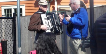 Accordionist Merv Conn was immortalized by a walkway near his Silver Spring home. Photo by Hector Gonzales