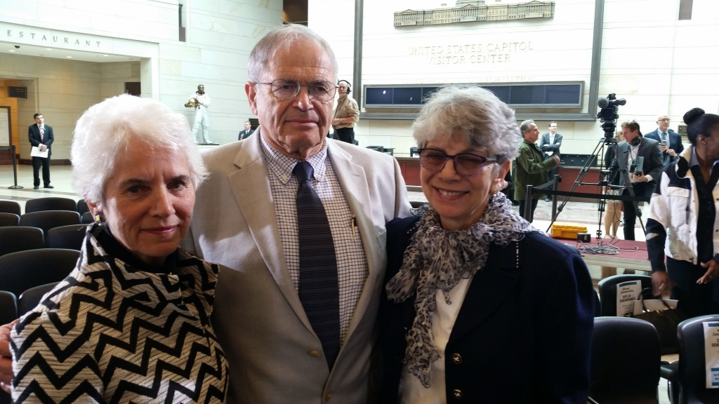 Holocaust survivors, from left, Eva Clarke, Mark Olsky and Hana Berger Moran were on hand during the annual Days of Remembrance ceremony held in the U.S. Capitol on May 5. Photo by Daniel Schere