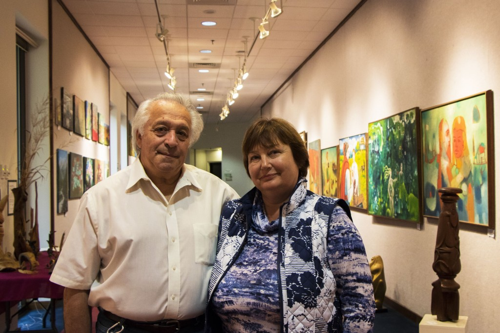 Vitaly Kroner, left, and Lyubov Ostrovska are hoping to dispel misconceptions about Ukraine and Russia. Photo by Justin Katz