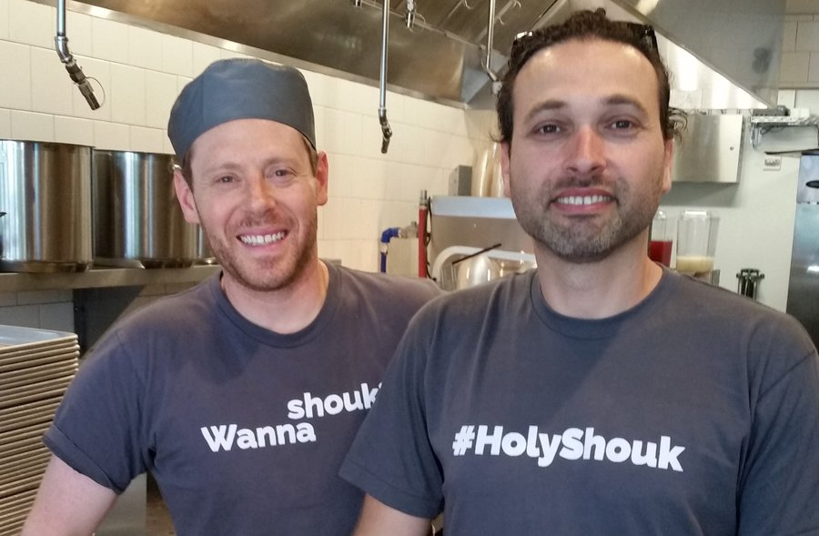 Shouk owner Ran Nussbacher, right, with chef Dennis Friedman.