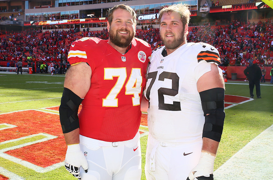 Geoff, left, and Mitch Schwartz are the first pair of Jewish brothers to play in the NFL since 1923.  Photo courtesy of Olivia Goodkin and Lee Schwartz
