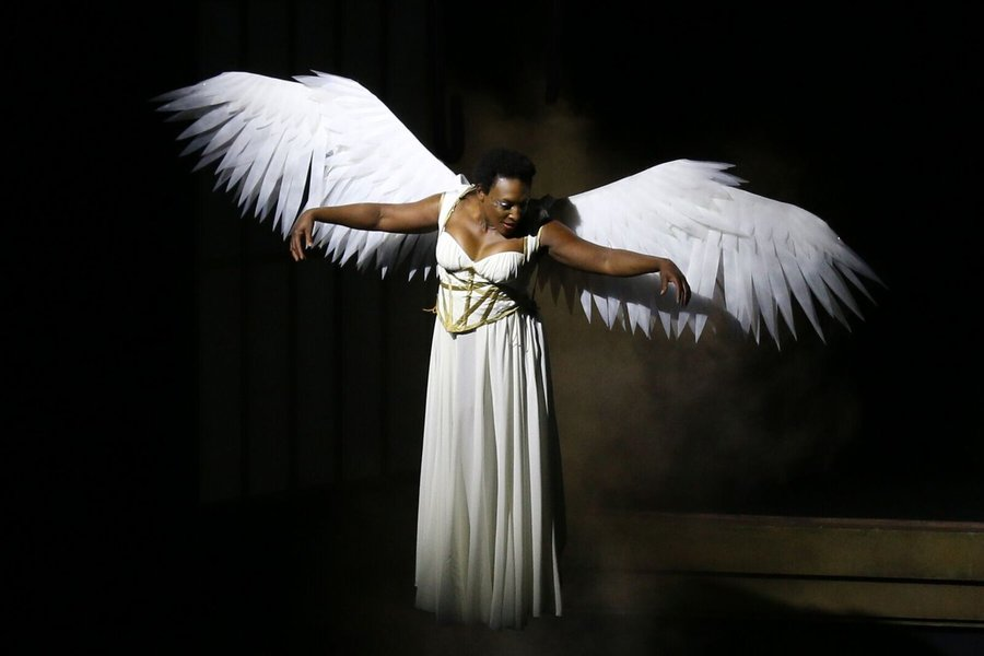 "awn Ursula portrays the angel in in the Round House Theatre and Olney Theatre Center's production of Tony Kushner's ""Angels in America: Millennium Approaches."" Photo by Danisha Crosby"