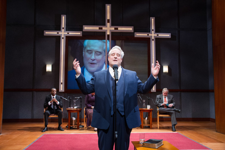 "Michael Russotto plays Pastor Paul, whose sermon shakes the foundations of his highly successful church, in playwright Lucas Hnath's ""The Christians."" Photo by C. Stanley Photography"