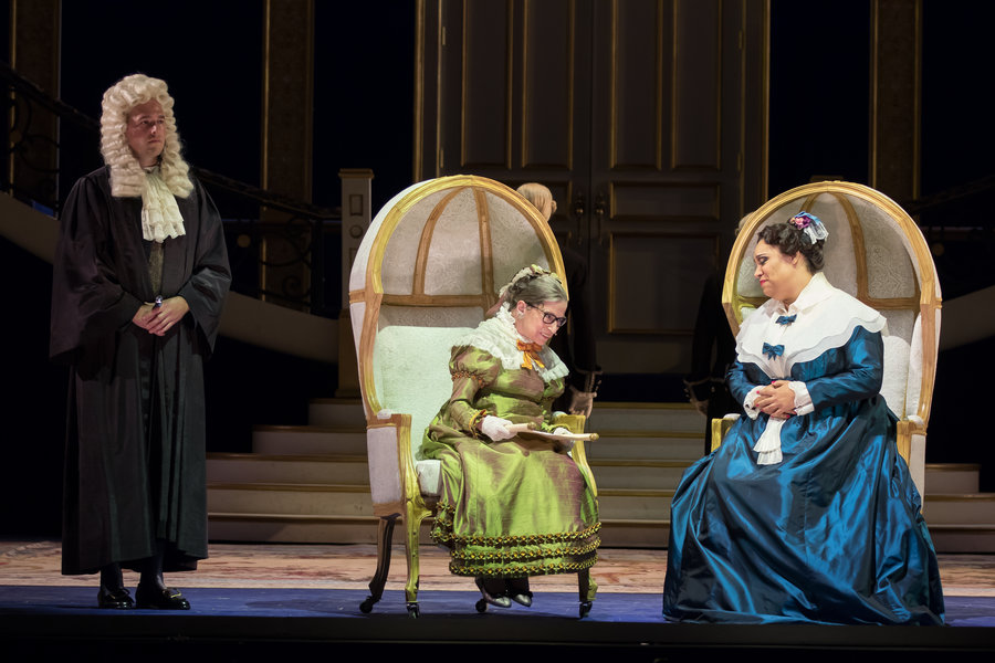 "Supreme Court Justice Ruth Bader Ginsburg, center, as the Duchess of Krakenthorp, and Deborah Nansteel as the Marquise of Berkenfield in Gaetano Donizetti's comic opera  ""The Daughter of the Regiment."" Photo by Scott Suchman for WNO"